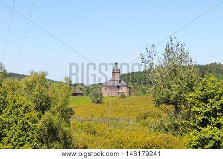 Old ukrainian wooden church in the village