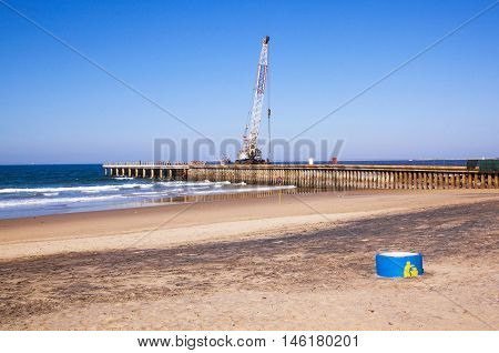 Crane Working On Construction Of Pier At Durban Beach Front