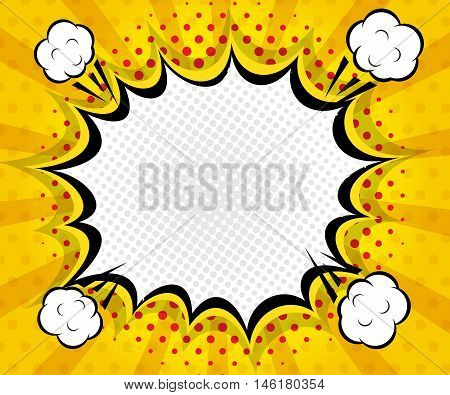 abstract boom blank speech bubble pop art comic book on yellow background vector illustration