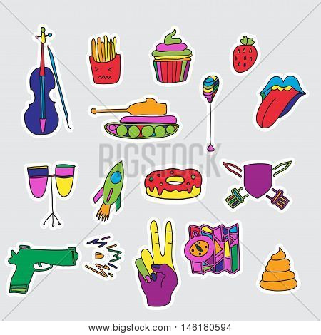 Vector set of patches and stickers. Hand drawn. Fashion cute comic illustration. Pop-art style. poster