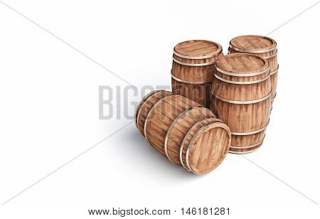 Wooden winemaking barrel on white background 3d illustration