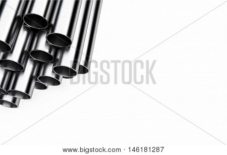steel pipes on white background with copy space 3d illustration