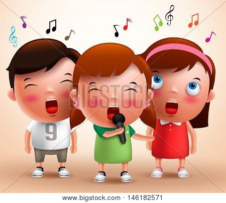 Singing kids vector characters holding microphone and performing with flying notes in a background. Vector illustration.