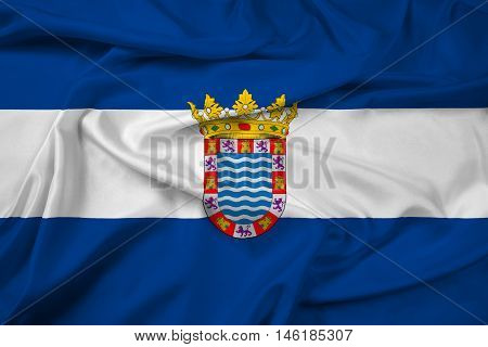 Waving Flag of Jerez Andalusia Spain, with beautiful satin background. 3D illustration