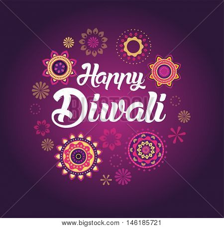 Happy Diwali greeting card for Hindu community, Indian festival, background illustration