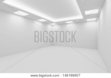 Abstract architecture white room interior - empty white room with white wall white floor white ceiling with square ceiling lamps and hidden ceiling lights view from corner 3d illustration poster