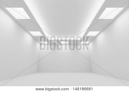 Abstract architecture white room interior - empty white room with white wall white floor white ceiling with square ceiling lamps and hidden ceiling lights wide perspective view 3d illustration