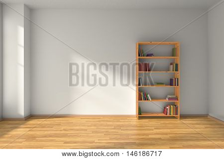 Empty room with white wall wooden parquet floor and wooden bookshelf with many color books on shelves with light from window on white wall and parquet floor minimalist interior 3D illustration