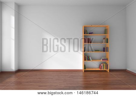 Empty room with white wall dark wooden parquet floor and wooden bookshelf with many color books on shelves with light from window on white wall and parquet floor minimalist interior 3D illustration