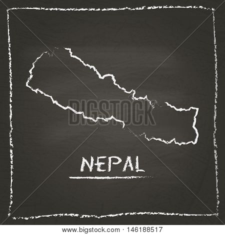 Nepal Outline Vector Map Hand Drawn With Chalk On A Blackboard. Chalkboard Scribble In Childish Styl