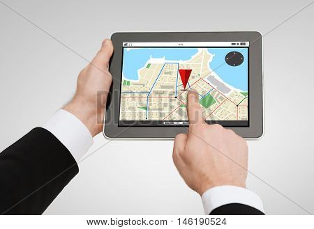 business, navigation, internet and technology concept - close up of man hands holding tablet pc computer with gps navigator map on screen