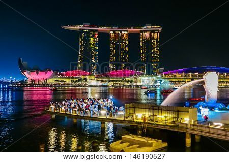SINGAPORE, REPUBLIC OF SINGAPORE - JANUARY 08, 2014: Laser Show at the Marina bay by night, Singapore