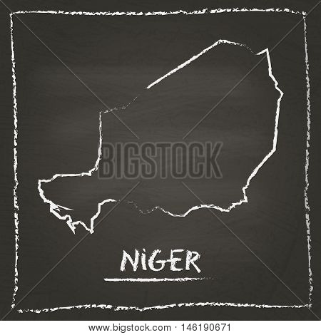 Niger Outline Vector Map Hand Drawn With Chalk On A Blackboard. Chalkboard Scribble In Childish Styl