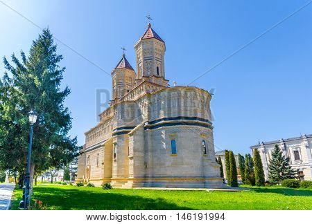 Beautiful and religious monastery in Cetatuia, Iasi town, one of the most famous architectural building of Christianity in Romania, Eastern Europe