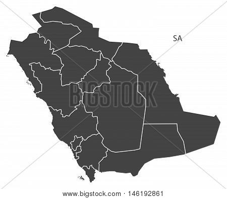 Saudi Arabia grey map with regions isolated vector high res