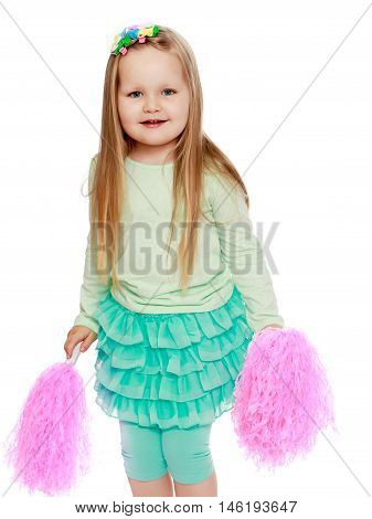 Cute little girl with long blond hair below the shoulders , in a green skirt, green breeches, holding a pink tinsel. Close-up - Isolated on white background