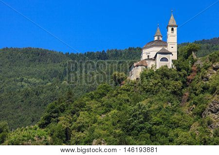 View of Sabiona monastery in Chiusa Northern Italy