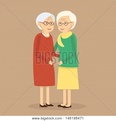Illustration happy senior women friends. Old people walking together. Flat characters happy retired elderly senior age social concept. Vector illustration