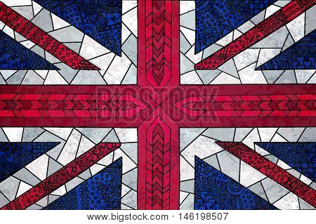 Great Britain flag background. Unusual zentangle grunge illustration. Vector english flag for web design or printed products.
