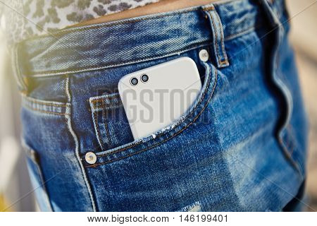 Modern Dual Camera Smart Phone In Jeans Pocket