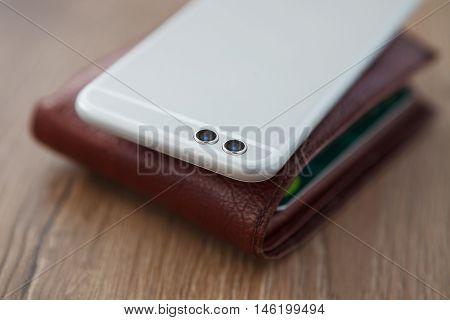 Modern Dual Camera Smart Phone On Wallet