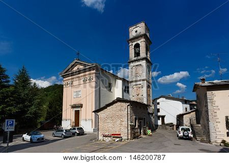 Molina Italy - May 07 2016: The Church of Molina di Fumane in little resort town spring time