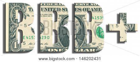 Bbb+ Credit Rating. Us Dollar Texture.