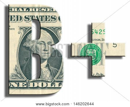 B+ Credit Rating. Us Dollar Texture.