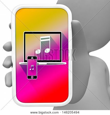 Music Online Means Mobile Phone Soundtracks 3D Rendering