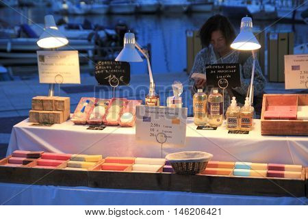 Frejus Port, France, 18 Aug 2016: Handmade Soap And Other Toiletries, On A Market Stall In The Prove
