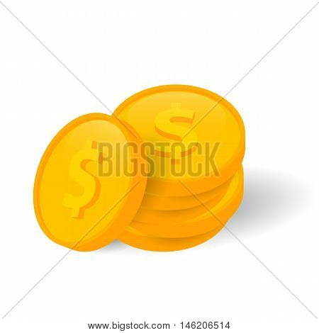 Vector Illustration of golden coins. Isolated on white background.