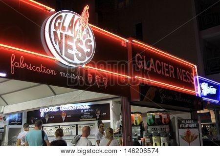 Frejus Port, France, 18 Aug 2016: The Popular Ice Cream Parlour