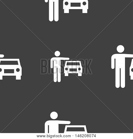 Person Up Hailing A Taxi Icon Sign. Seamless Pattern On A Gray Background. Vector