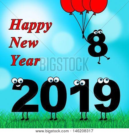 Twenty Nineteen Represents 2019 New Year 3D Illustration