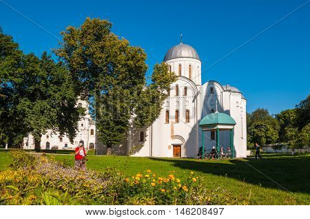 Chernihiv Ukraine - August 28 2016: Believers near the Boris and Gleb Church (XII century) in Chernihiv Ukraine.