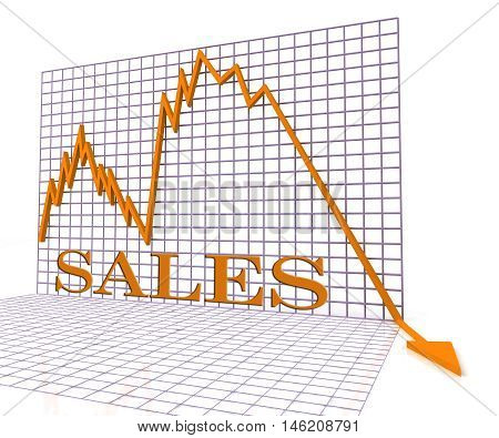 Sales Graph Negative Means Selling Downturn 3D Rendering