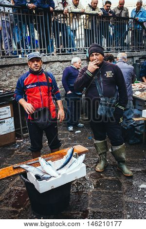 Catania, Fisherman Sells Fish And Shellfish To The Fish Market