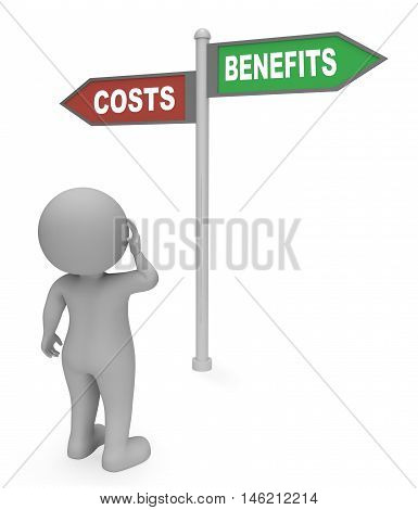 Costs Benefits Sign Shows Outlay Expenditure 3D Rendering