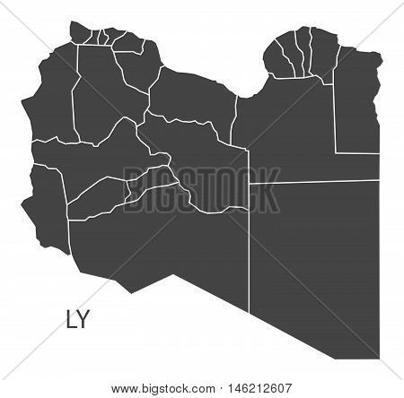 Libya grey map with regions isolated vector high res