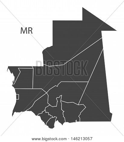 Mauritania grey map with regions isolated vector high res