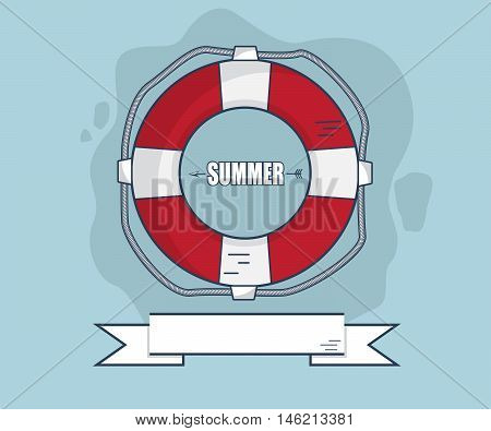 Life Bouy In Summer With Ribbon Flat Design Vector Illustration