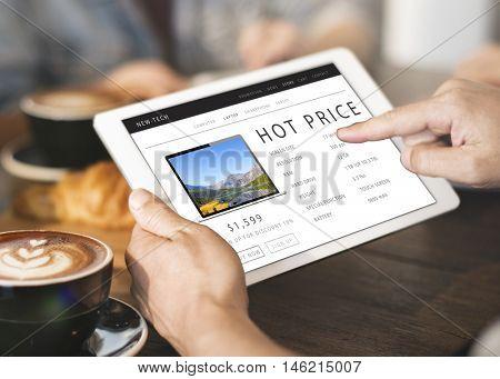 Hot Price Shopping Online Internet Website Concept
