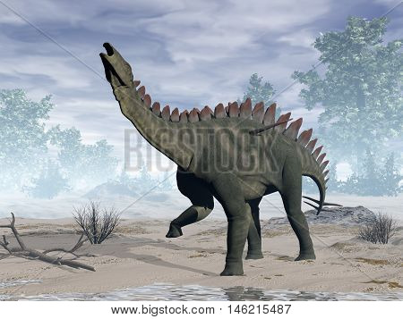 Miragaia dinosaur rearing up by day - 3D render