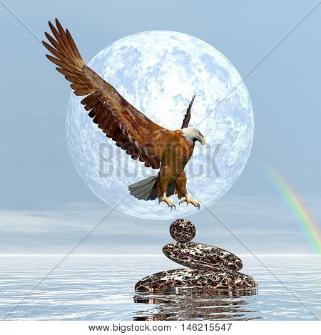 Eagle landing on balanced stones by day with full moon and rainbow - 3D render