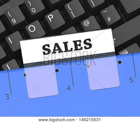 Sales File Represents Retail Vending 3D Rendering