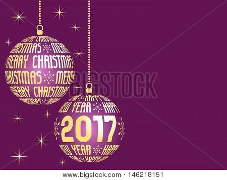 merry christmas and happy new year 2017 greeting card vivid pink background with place for text hanging gold christmas balls with text