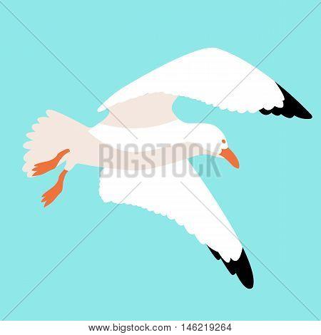 seagull in flight vector illustration style Flat sky