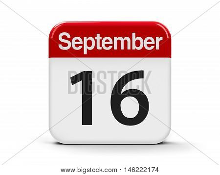Calendar web button - The Sixteenth of September - International Day for the Preservation of the Ozone Layer and Mexico Independence Day three-dimensional rendering 3D illustration
