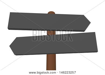 Left and right 3D arrow signs on a wooden rod - guidepost. Cartoon style. Isolated 3D illustration on white background. Space for text.