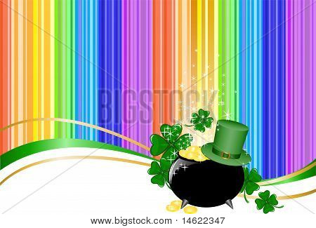 Rainbow Background With Leprechaun Hat And A Jar